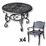 Lazy Susan - FLORA 103 cm Runder Gartentisch mit 4 Stühlen - Gartenmöbel Set aus Metall, Antik Bronze (KATE Stühle)