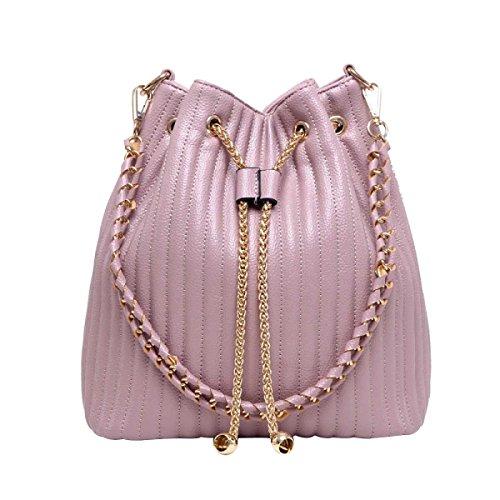 Frauen Mode Weiche Seite Handtasche Eimer Tasche Pink