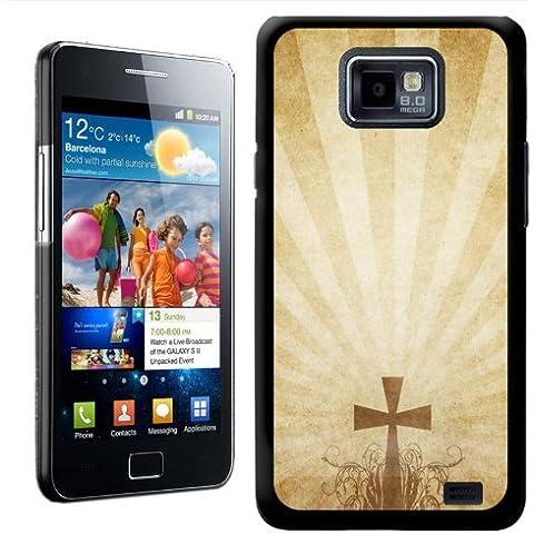 Fancy A Snuggle - Carcasa protectora rígida para Samsung Galaxy S2 i9100, diseño de cruz con rayos sobre pergamino