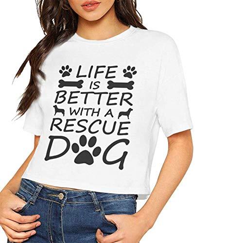 Damenmode Kurzarm T-Shirt Das Leben ist Besser mit einem Rettungshund Bedruckter Nabel (XL, als Foto)