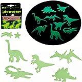 24 Los dinosaurios y estrellas fluorescentes que brillan en la oscuridad - Ideal para la decoración de un techo