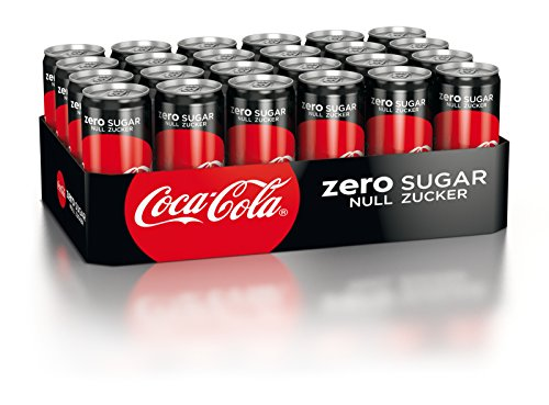 Coca-Cola Zero Sugar, Koffeinhaltiges Erfrischungsgetränk in stylischen Dosen mit originalem Coca-Cola Geschmack - null Zucker und ohne Kalorien, EINWEG Dose (24 x 330 ml)