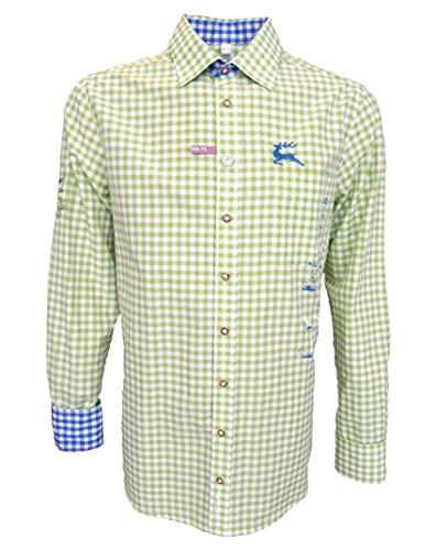 Slim Fit Trachtenhemd für Lederhosen mit Stickerei giftgrün, Hemdgröße:3XL