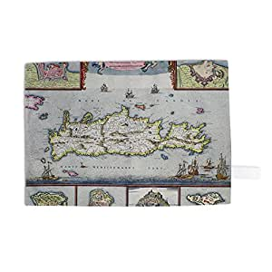 Art247 - Map of the Island of Candia (Crete) with the.. - Torchon 100% coton - Torchons 46 x 70 cm - Art247