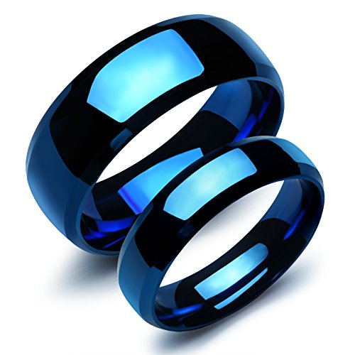 Yellow Chimes Platinum Plated Never Fading Metallic Blue Couple Rings for Girls and Boys