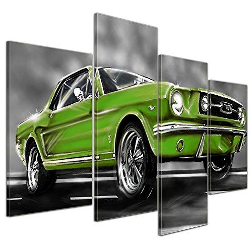 Kunstdruck - Mustang Graphic - grün - Bild auf Leinwand - 120x80 cm 4 teilig - Leinwandbilder - Motorisiert - Oldtimer - Klassiker - Amerika