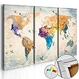 Neuheit! Weltkarte mit Kork Rückwand 90x60 cm – dreiteilig Bilder Leinwandbild Poster Pinnwand Kunstdruck Weltkarte Kontinent Welt Landkarte Karte k-C-0042-p-a 90x60 cm B&D XXL