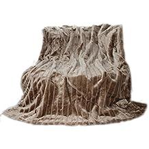 De qualité, couverture/plaid en vison synthétique, Polyester, Taupe/Beige, 150 x 200 cm
