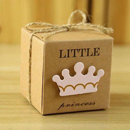 zantec 50neue europäische Stil Candy Box Little Prince/Princess Krone Kraft Boxen Girl Boy Geburtstag Decor Gastgeschenken Princess Crown (Princess Candy)
