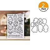 Transparente Gummi-Stempel + Metall Stanzschablone Schablone für Karten Basteln Scrapbooking Prägung Album Deko DIY Handwerk