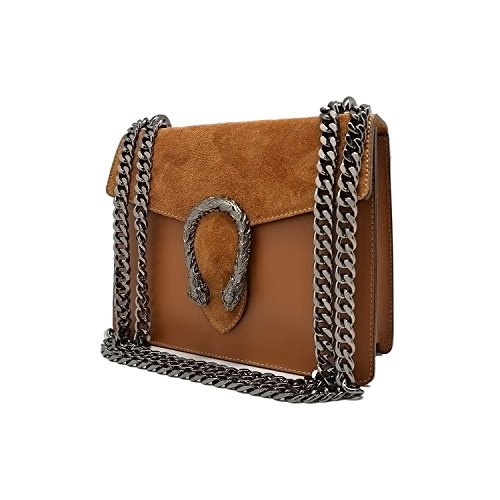 RONDA Borsa pochette a spalla tracola catena e accessori in metallo pelle liscia e pattina camoscio Made in Italy cammello mini