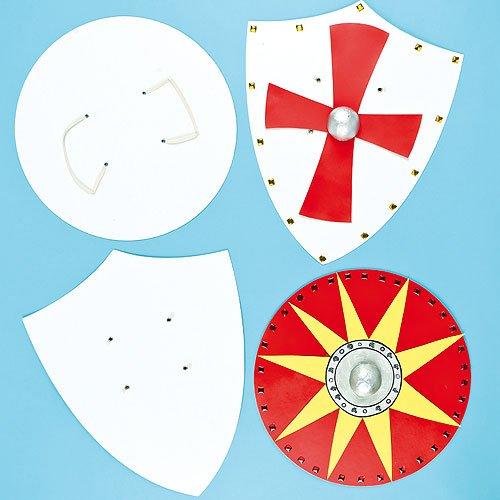 Baker Ross Blanko Pappformen Ritterschilde für Kinder zum Bemalen und Dekorieren (4 Stück) -