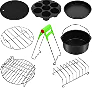 Air fryer accessories 8-piece tool set, with skewers silicone pad, 7-inch pizza pan metal bracket