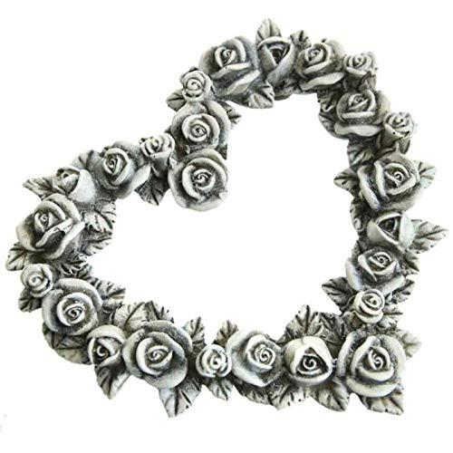 Trauer-Shop Rosen Herz zum Gedenken, Grab Rosen Dekoration. 14 cm. 1 Stück
