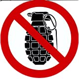 Interdit - grenades à main - 10 cm de diamètre autocollant Autocollants