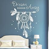 """Wandtattoo Loft """"Traumfänger Dream Away"""" / Traumfänger mit Schriftzug / Wandtattoo / 54 Farben / 3 Größen / weiß / 55 cm (breit) x 70 cm (hoch)"""