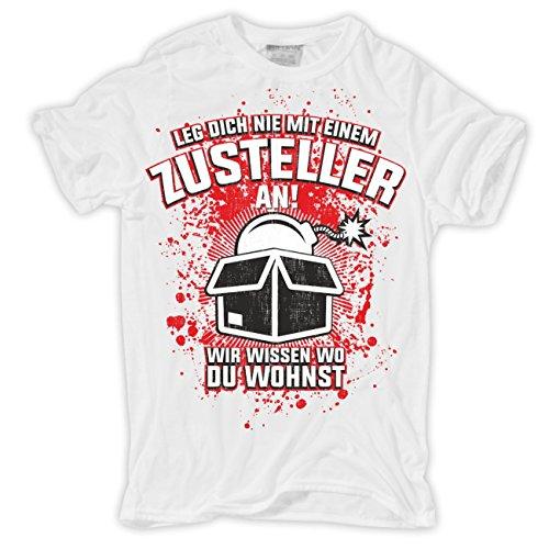 Männer und Herren T-Shirt Zusteller Paket & Post Körperbetont weiß