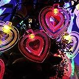 KIGNCOOO - Guirnalda de luces para exteriores, 20 LED, multicolor, con forma de corazón, luz solar, impermeable, luces de Navidad, para jardín, patio, patio, casa, árbol de Navidad