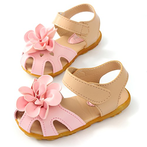 Minetom Filles Bébé Enfants Pré Marcheur été Fleur Chaussures à Semelles Souples Bambin Anti-dérapant Sandales pink