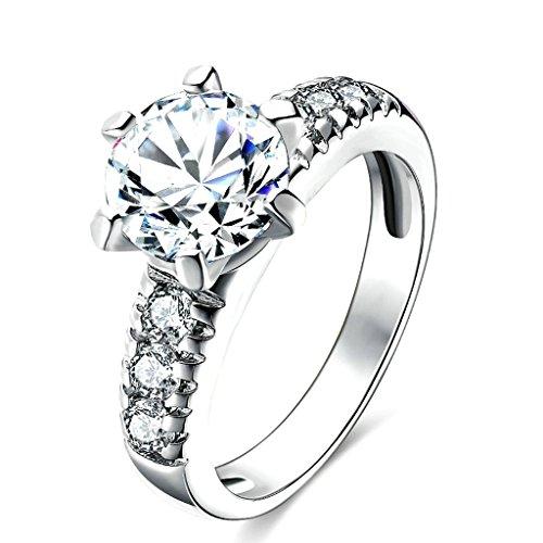 Daesar Gioielli Placcato Oro Anelli Donna Anello di fidanzamento Anello zirconi Rotondo Argento Dimensioni:12 - Vintage Diamante Solitario