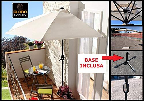 Globolandia srl 87579 - ombrellone mezzaluna ecru con base inclusa salvaspazio in alluminio Ø270x245 con manovella apertura e chiusura