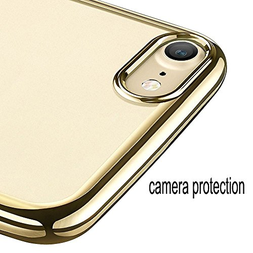Frixie (TM) TPU con supporto Custodia per iPhone 7/7Plus antiurto paraurti posteriore trasparente protettiva con clip oro rosa 11,9cm 14cm Gold Iphone 7 Plus Gold Iphone 7 Plus