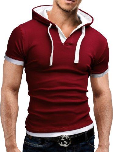 MERISH Maglietta da Uomo 7 vari colori Slim Fit Shirt 09 Bordeaux