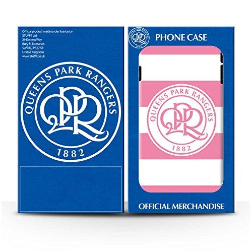 Officiel Queens Park Rangers FC Coque / Etui pour Apple iPhone X/10 / Noir Design / QPR Crête Club Football Collection Hoops/Rose Tendre