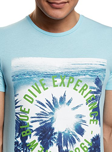 oodji Ultra Herren Gerades T-Shirt mit Stranddruck Türkis (7375P)