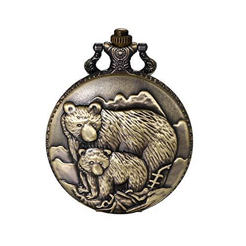 JewelryWe Vatertagsgeschenk Taschenuhr Herren Vintage Grizzly Bären Vater und Sohn Analog Quarz Uhr mit Halskette Kette Uhranhänger Pocket Watch