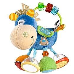 Playgro Toy Box Pferd klipp klapp Bunte Figur mit vielen Eigenschaften zum Entdecken: Rasselperlen, integrierter Spiegel, Glöckchen, knisternde und raschelnde Hufen. Schiebe-Perlen in verschiedenen Formen sind ideal für kleine Kinderhände. Lustiges P...