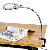 Led-lupen-clamp-lampe, 2x, 5x 100mm-lupenlinse, Metallschlauch Verstellbarer Schwenkarm Utility Clamp Licht Für Schreibtisch, Tisch, Handwerk, Schmuck, Nähen