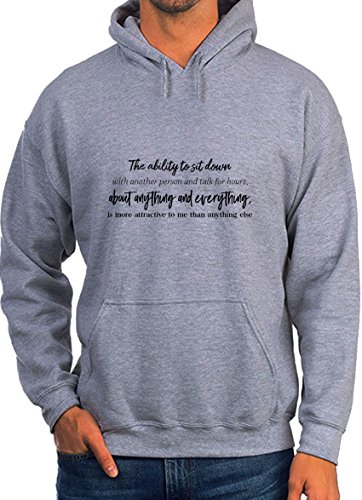 PawShirt The Ability to Sit Down with Another Person and Talk Motiovation Life Quote Grey Unisex Hoodie - Large (Person Cut Womens T-shirt)