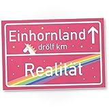 Einhorn Kunstoff Schild - rosa Ortsschild / Ortstafel Einhornland, Deko / Wanddeko, Geschenk - Unicorn Party / Türschild Mädels - Wohnung, Geschenkidee Geburtstagsgeschenk Freundin
