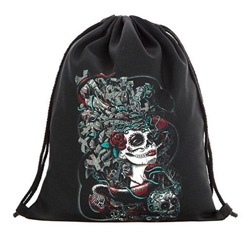 Longra Sacchetto di immagazzinaggio del sacchetto della porta del fascio del sacchetto del drawstring di Halloween D