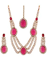 I Jewels Gold Plated Traditional Jewellery Set With Earrings & Maang Tikka For Women (MJ06Q)