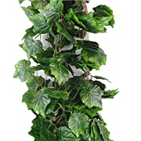 Meiliy 8 Ft Artificial Greenery Chain Ivy Grape Leaves Vine Foliage Simulation Flowers Vine Grape Leaves Plants For Home Room Garden Wedding Garland Outside Decoration,Pack of 5