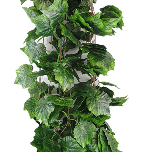 Meiliy künstliche Efeuranke mit Blättern, 5 Stück, je 2,4 m lang, Dekoration für Haus, Hochzeit, Garten oder Außenbereich