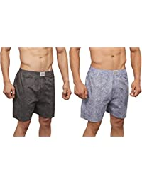 NeskaModa Men's Premium Pack Of 2 Elasticated Cotton Grey And Black Boxers With 1 Back Pocket-XB133&XB137