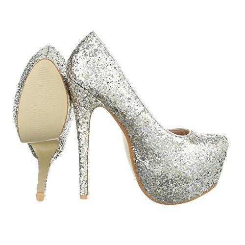 High Heel Damenschuhe Plateau Pfennig-/Stilettoabsatz High Heels Ital-Design Pumps Silber XF72-R