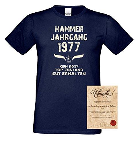 Geschenk zum 40. Geburtstag : Hammer Jahrgang 1977 : Geschenkidee Geburtstagsgeschenk für Ihn - Herren Männer Kurzarm T-Shirt Geschenkset Farbe: navy-blau Navy-Blau