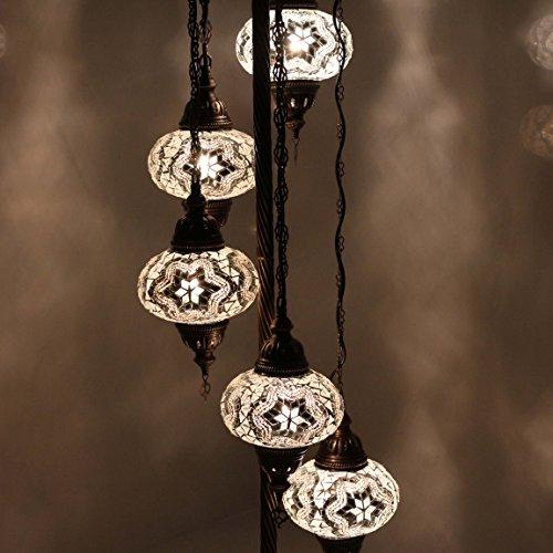 Floor Lamps & Lampshades - Stunning Turkish, Moroccan, Ottoman Style Mosaic, Multicolour Floor Lamp Light, Moroccan Style, 5 Large Globe