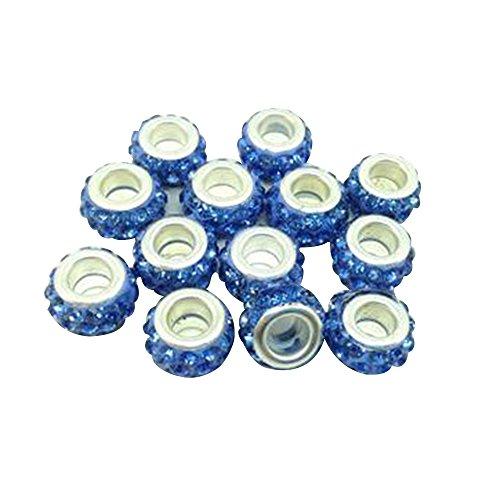 10 Charms Perline Ciondolo da donna Compatibile con Bracciali Pandora Vetro di Murano Perline 8MM (Azzurro)