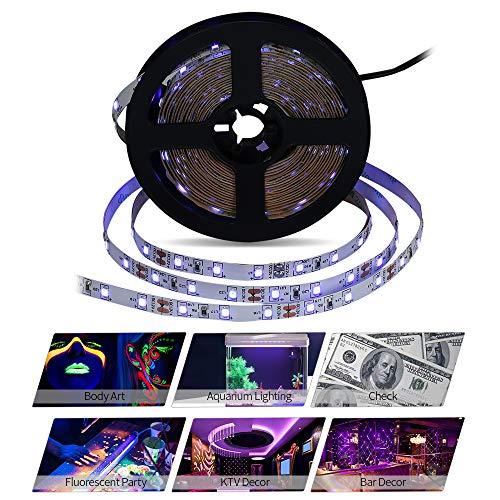Fluoreszierende Küche Streifen-licht (LED-Streifen-Set, LED Strip 5M LED UV Blacklight Streifen Licht mit 300 LEDs,Komplettsets inkl Fernbedienung,Eckverbinder, Verbindungskabel für UV Kunst Ausstellung Bühnenbeleuchtung Innen Dekoration)