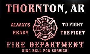 qy51146-r FIRE DEPT THORNTON, AR ARKANSAS Firefighter Neon Sign