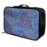 Portable Luggage Duffel Bag Kaffe Fassett Millefiore Blue Travel Bags Carry-on In Trolley Handle