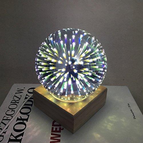 LongYu Nuit Lumière 3D coloré Cristal Magique Verre Lampe USB Charge Bouton-Style créatif décoration Lampe Romantique Chambre Chevet atmosphère économie d'énergie Douce lumière Solide Bois Base