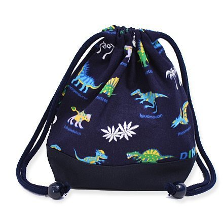 Large set drawstring Gokigen lunch (small size) with gusset bag dinosaur cup champions (navy) x Ox navy blue made in Japan N3564800 (japan import)