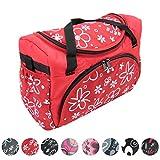 BAMBINIWELT Wickeltasche für Kinderwagen, Kinderwagentasche + Wickelunterlage (Flowers Rot)