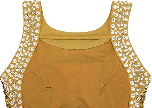 Angel-fashions Fessura abito da sera perline girocollo Sequin Backless delle donne Oro